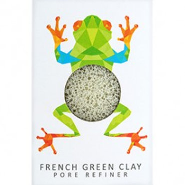 The Konjac Sponge Co Rainforest Tree Frog Mini Face Puff - Green French Clay