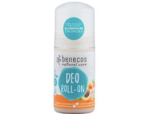 Benecos Roll On Deodorant - Apricot and Elderflower - 50ml
