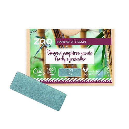 Zao Rectangular Eyeshadow Refills - Pearly Peacock Blue 127