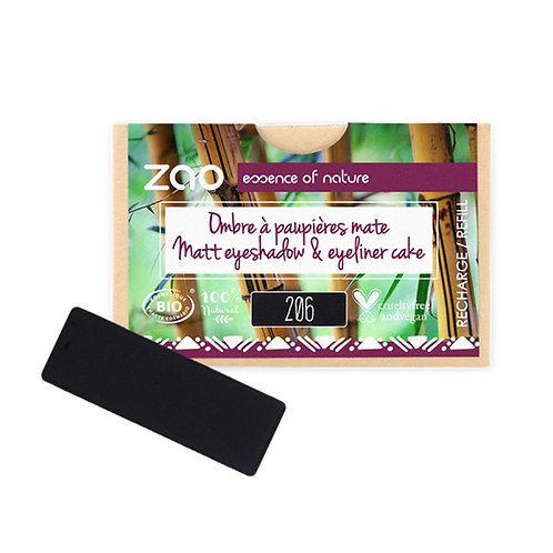 Zao Rectangular Eyeshadow Refills - Matt Black 206