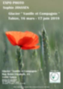 Affiche de l'exposition locale chez Vanille et Compagnie, mars à juin 2018