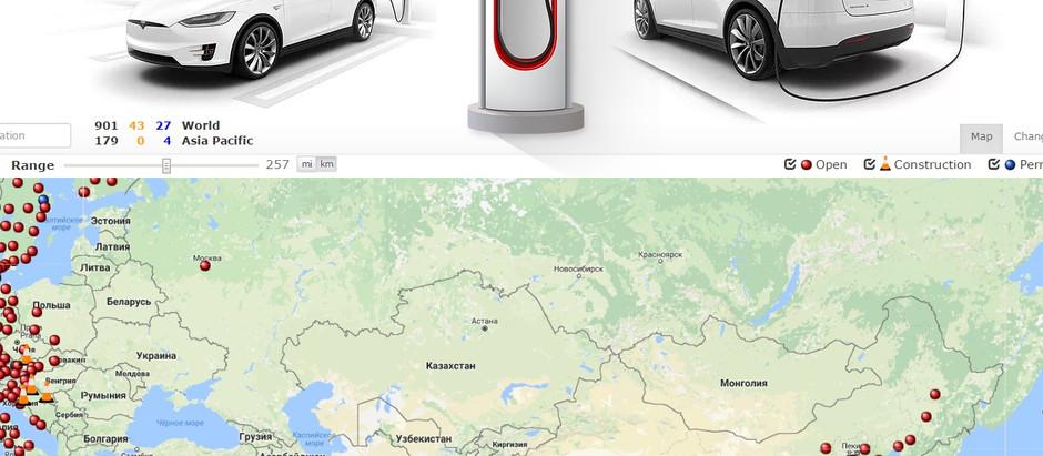 Tesla собирается увеличить зарядных станций в России
