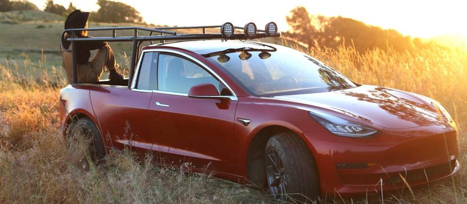Блогер построил из электрокара Tesla Model 3 пикап