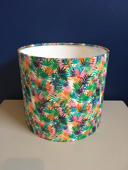 Neon tropical palm leaves lampshade in Bora Bora fabric