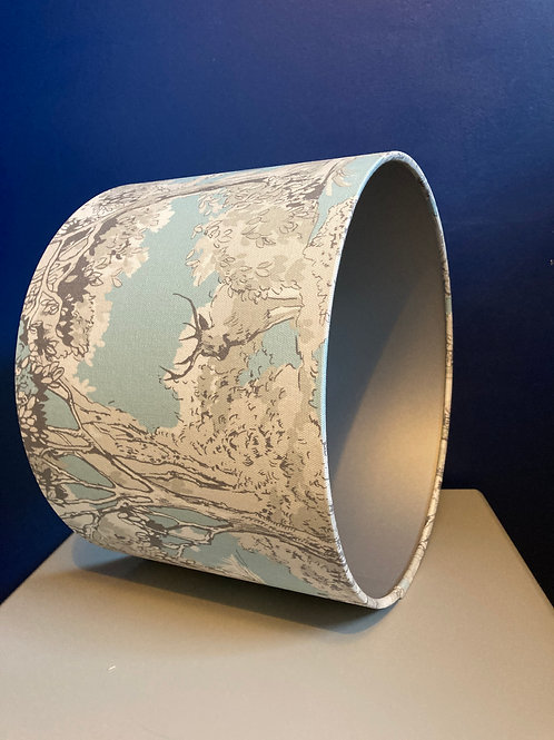 Pale blue Stag forest ceiling shade with silver lining (30cm M)