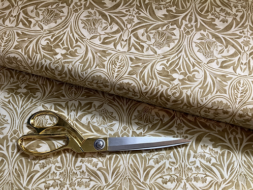 William Morris 'Bluebell' fabric, in gold and cream