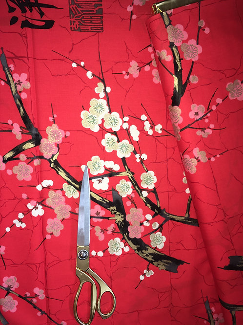 Japanese blossom fabric in red