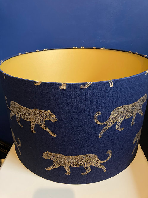 Navy and gold leopard lampshade