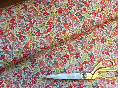 Ditsy red yellow floral silky fabric, Pima Lawn