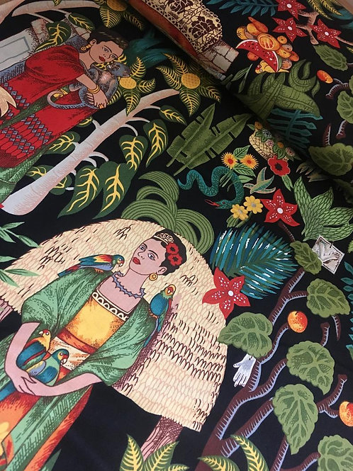 Fridas Garden fabric in black
