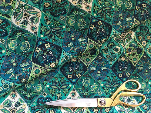 Teal Morrocan tile fabric by Stof France
