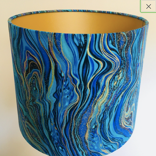 Teal & gold marbled lampshade