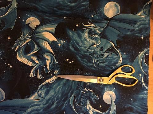Blue dragon fantasy fabric
