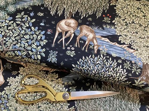 William Morris 'The Brook' fabric, in blue-black