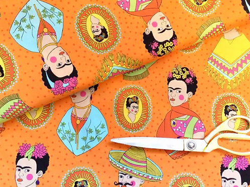 Frida orange Mexican fabric