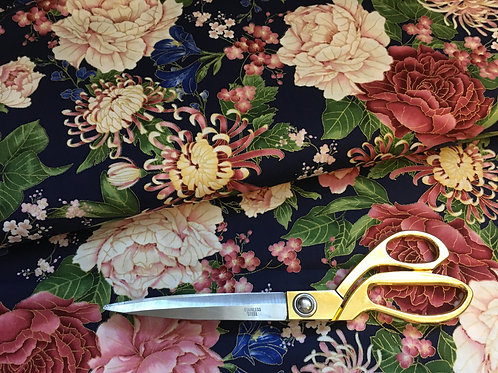 Navy Sakura fabric in floral and gold