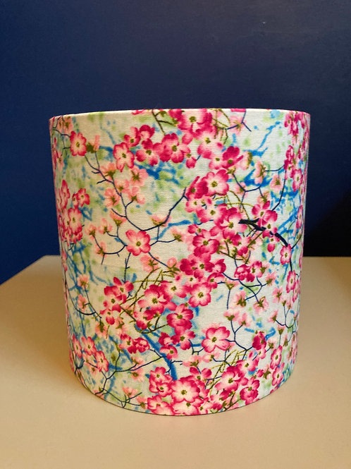 Pink & turquoise blossom shade (15cm XS) for lamp