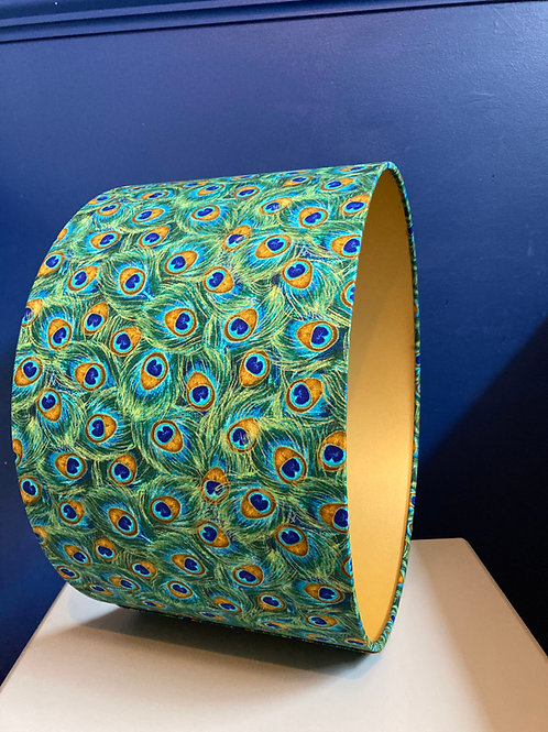 Peacock lampshade in teal and gold