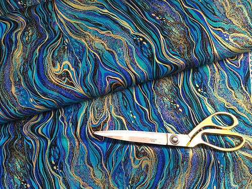 Teal and metallic gold marbled fabric