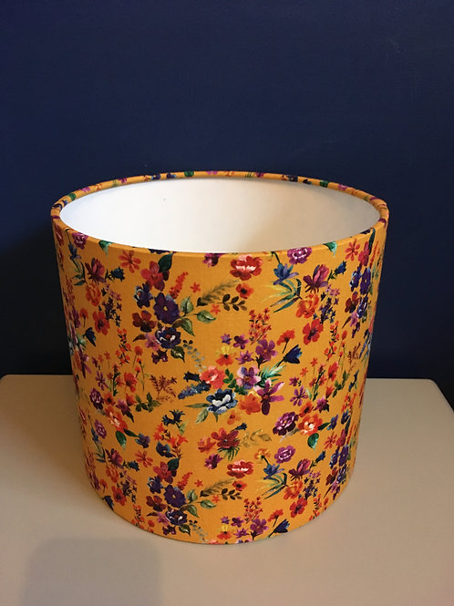 Mustard floral lampshade in Amaia fabric