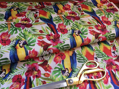 Tropical jungle parrot fabric