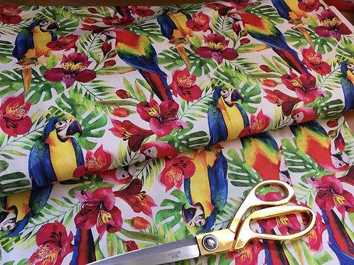Tropical jungle parrot fabric
