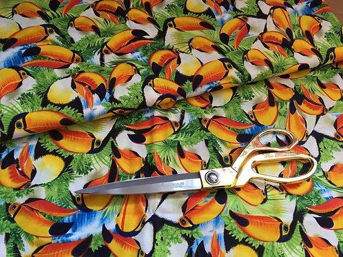 Tropical orange toucan fabric