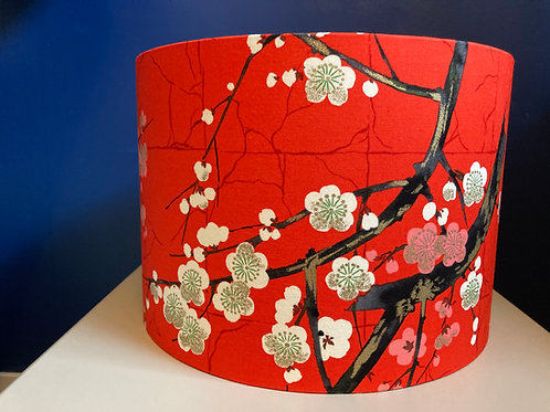 red Japanese blossom lampshade