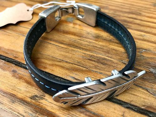 Feather leather bracelet