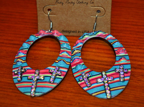 Multi-color Cross Earrings