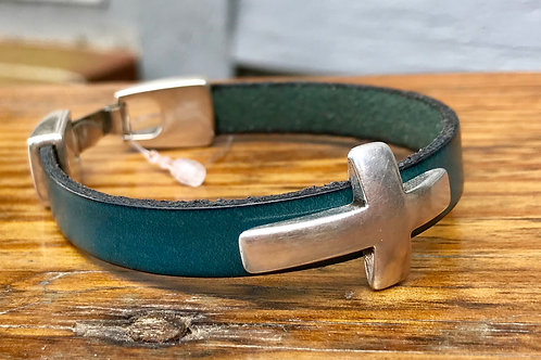 Turquoise leather cross bracelet