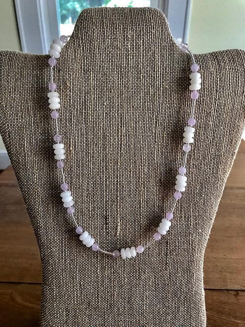 "Handmade 19"" Necklace-lavender/white"