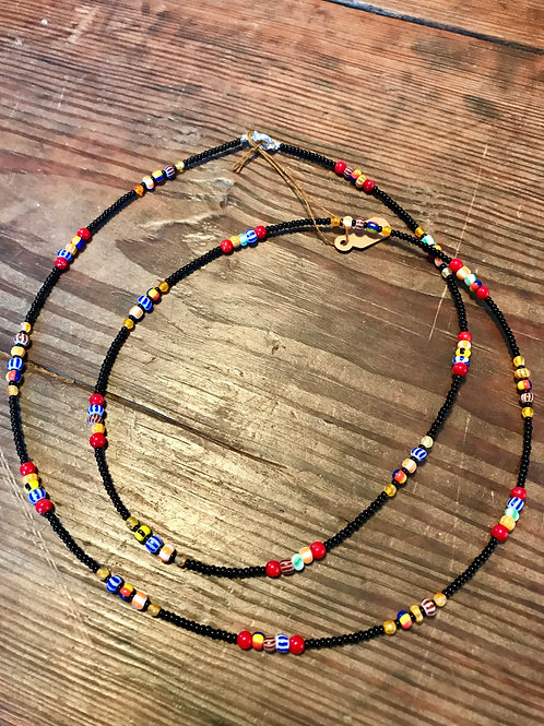 "Handmade Necklace-32"" Black/multi color"