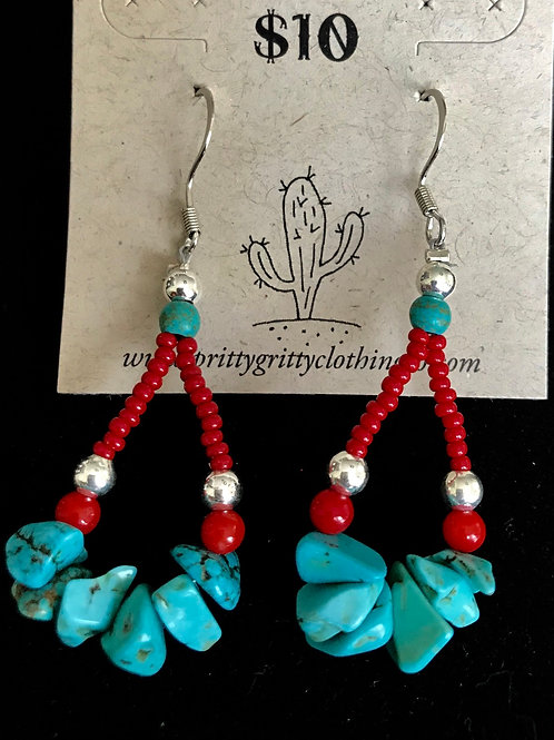 Red, Silver and Turquoise Earrings