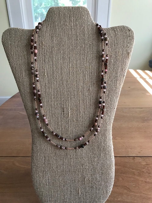Longer Brown/Pink beaded necklace