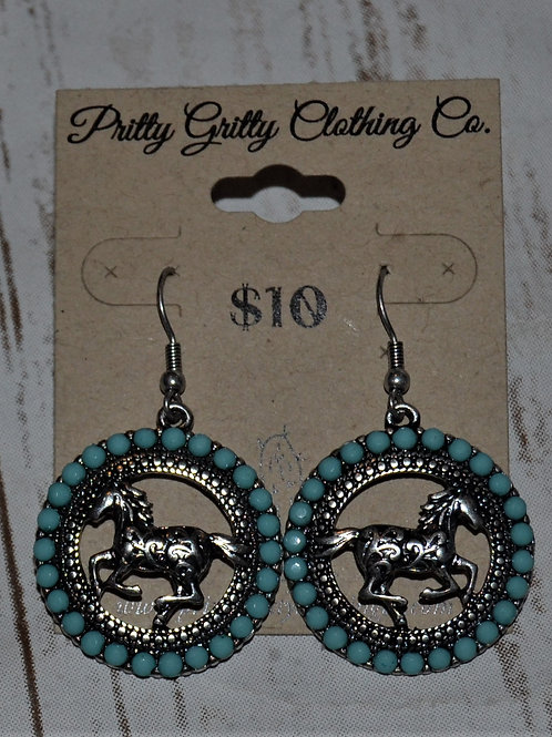 Turquoise / Horse Earrings