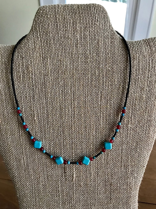 "Handmade 16"" Necklace-turquoise/red/black"