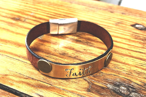 """Faith"" leather bracelet"