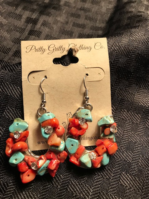 Horseshoe Earrings-turquoise and red stones