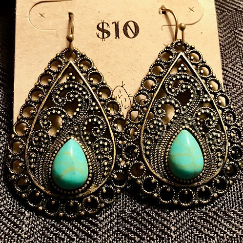 Turquoise Decorative Teardrop Earrings