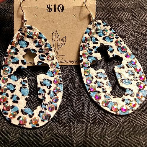 Blue Leopard Cross Bling Earrings