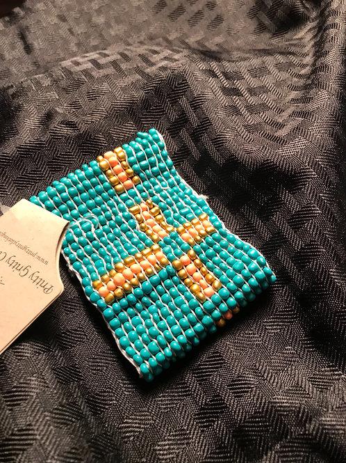 Turquoise cross beaded bracelet