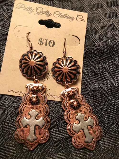 Copper Cross dangle earrings