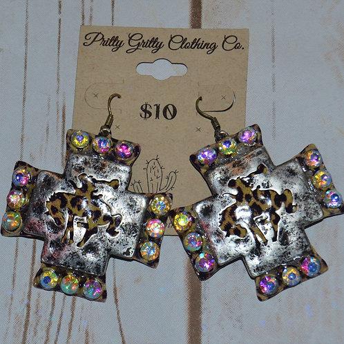 Cheetah Bucking Horse Cross Earrings