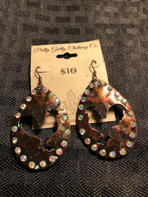 Copper Rooster Bling Earrings