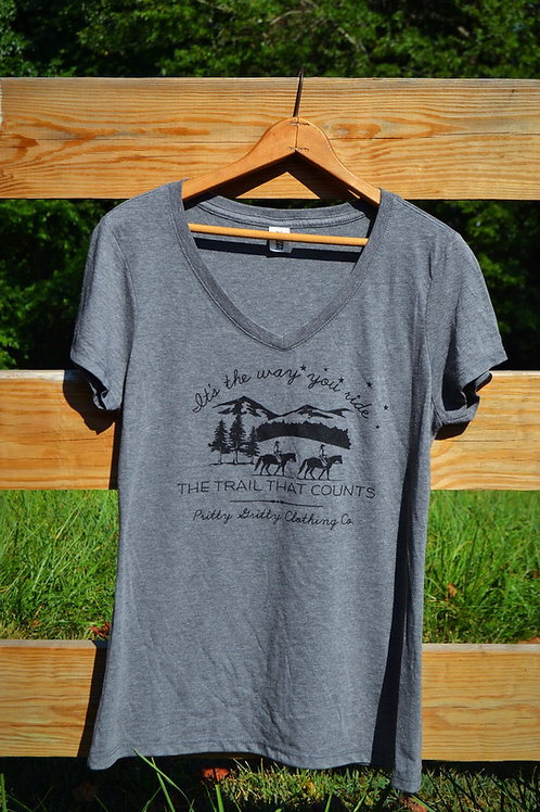 """""""It's the way you ride the trail that counts"""" V-Neck"""