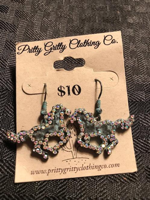 Copper Bling Running Horse Earrings