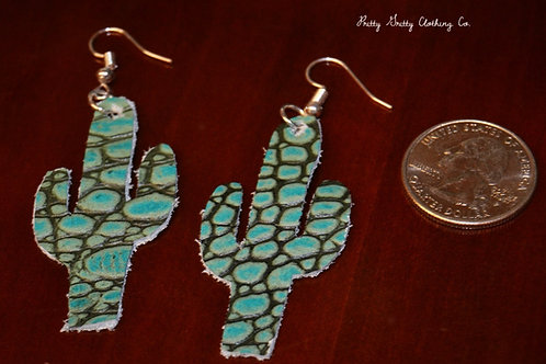 Turquoise Leather Cactus Earrings