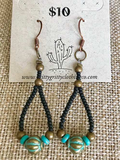 Beaded Earrings-turquoise, black and gold