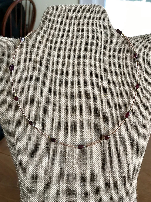 "Handmade 18"" Necklace-deep purple/gold"